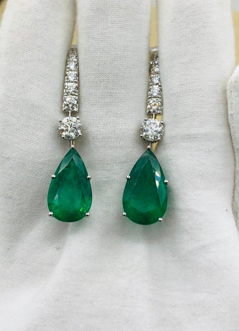 Emilio Jewelry 17.06 Carat Vivid Green Pear Shape Emerald Diamond Earrings For Sale 6