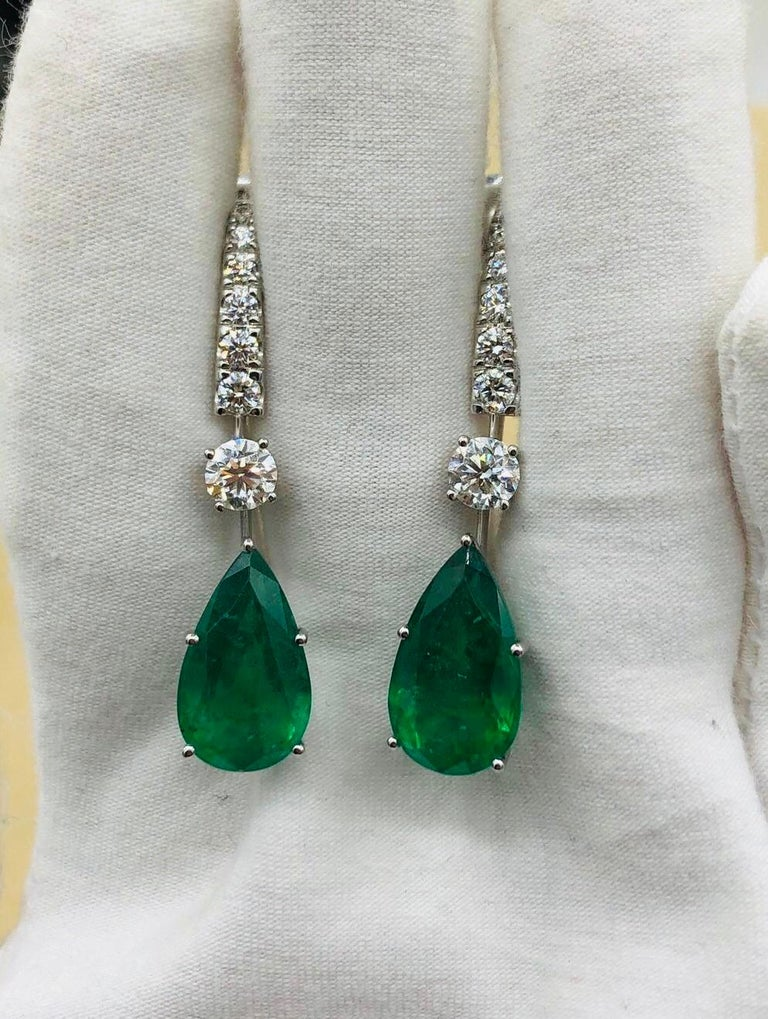 Emilio Jewelry 17.06 Carat Vivid Green Pear Shape Emerald Diamond Earrings For Sale 7