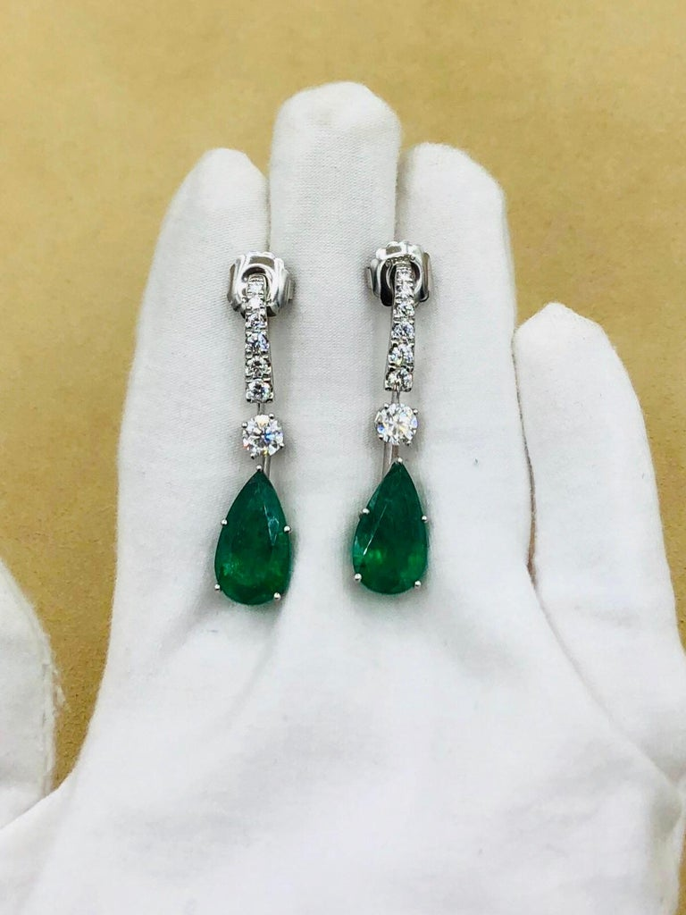 Emilio Jewelry 17.06 Carat Vivid Green Pear Shape Emerald Diamond Earrings For Sale 9