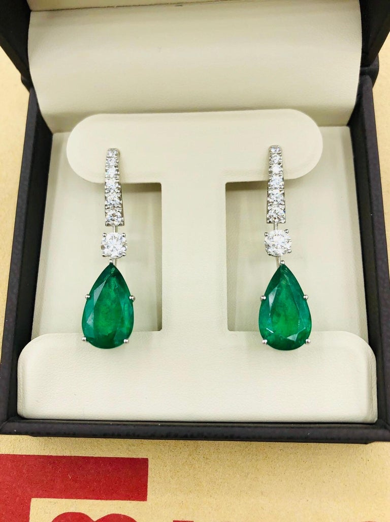Emilio Jewelry 17.06 Carat Vivid Green Pear Shape Emerald Diamond Earrings For Sale 1
