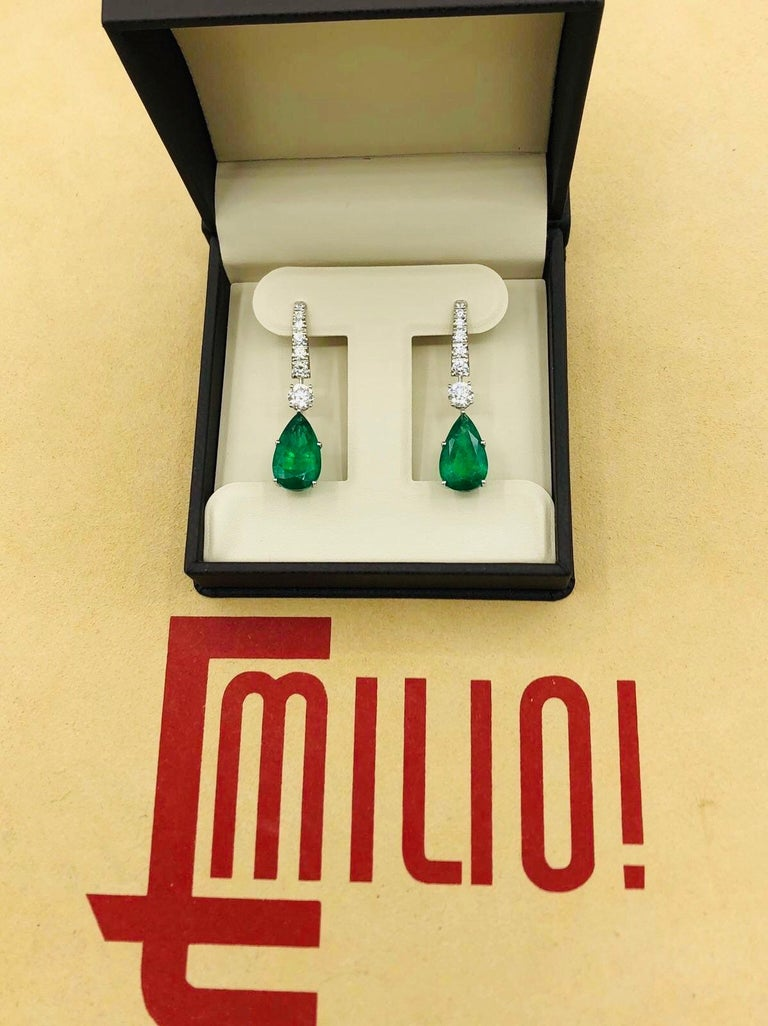 Emilio Jewelry 17.06 Carat Vivid Green Pear Shape Emerald Diamond Earrings For Sale 3