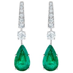 Emilio Jewelry 17.06 Carat Vivid Green Pear Shape Emerald Diamond Earrings