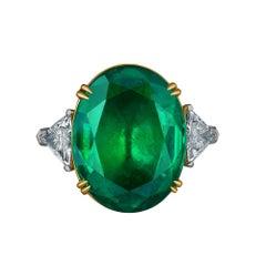 Emilio Jewelry 17.37 Carat Vivid Green Oval Emerald Diamond Ring