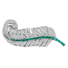 Emilio Jewelry 18 Karat White Gold Diamond Emerald Leaf Brooch