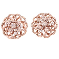 Emilio Jewelry 1.89 Carat Rose Gold Diamond Earrings