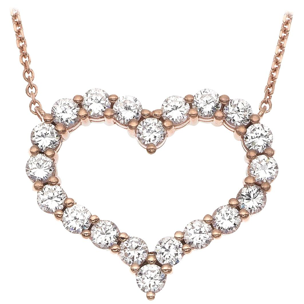 Emilio Jewelry 2.00 Carat Diamond Heart Necklace