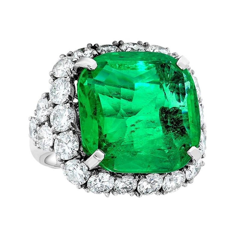 Emilio Jewelry 20.00 Carat Colombian Emerald Ring For Sale