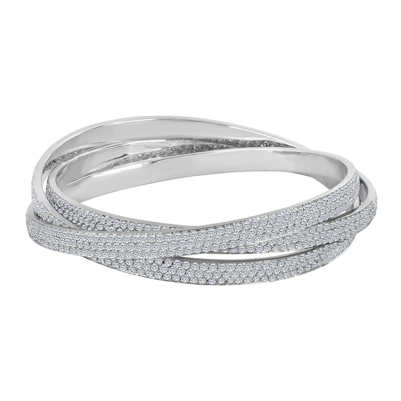 Emilio Jewelry 20.00 Carat Pave Diamond Rolling Bangle