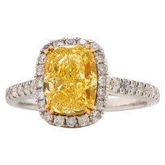 Emilio Jewelry 2.02 Carat GIA Certified Fancy Intense Yellow Diamond Ring