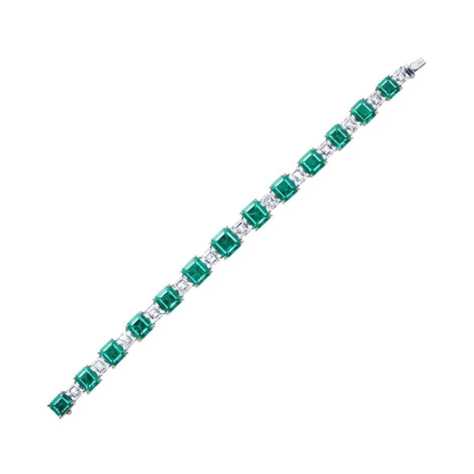 Emilio Jewelry 22 Carat Muzo No Oil Untreated Certified Emerald Diamond Bracelet