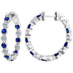 Emilio Jewelry 2.20 Carat Sapphire Diamond Hoop Earrings