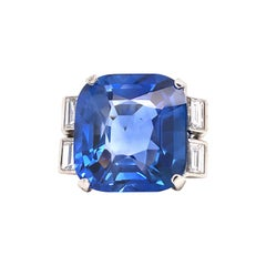 Emilio Jewelry 22.75 Carat No Heat Sapphire Diamond Ring