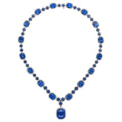 Emilio Jewelry 23.00 Carat GIA Certified Natural Sapphire Diamond Necklace