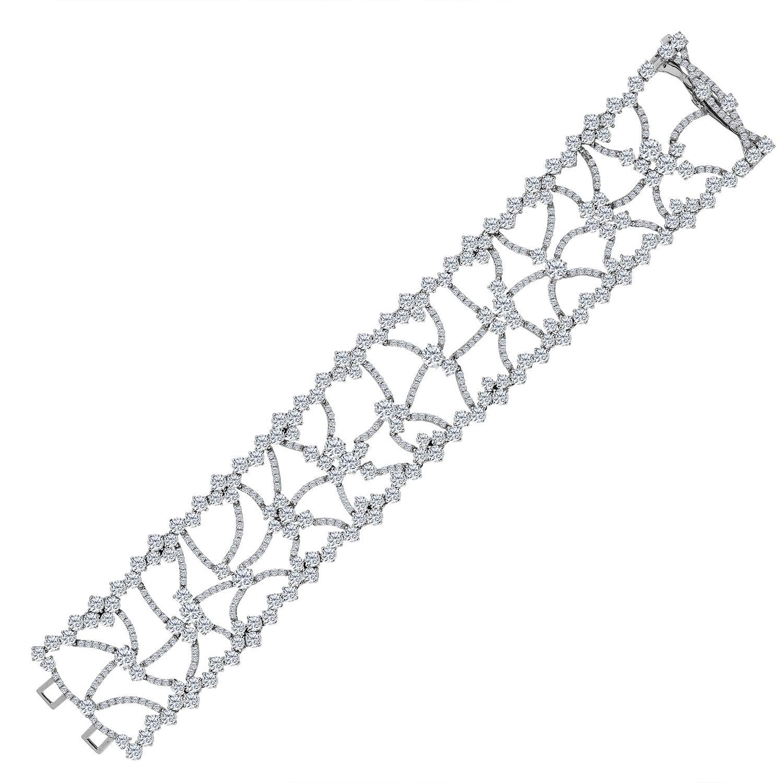 Emilio Jewelry 23.03 Carat Wide Red Carpet Diamond Bracelet
