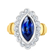 Emilio Jewelry 2.33 Carat Marquise Sapphire Diamond Ring
