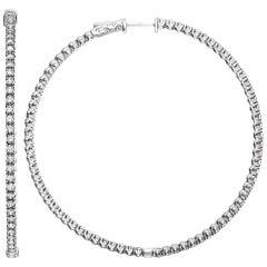 Emilio Jewelry 2.50 Inch Diameter 3.40 Carat Diamond Hoops