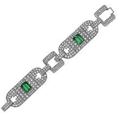 Emilio Jewelry 25.00 Carat Certified Colombian Emerald Diamond Platinum Bracelet
