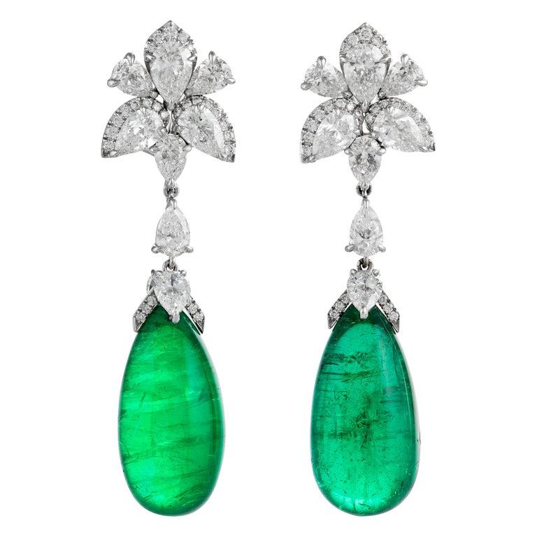 Emilio Jewelry 25.21 Carat Oval Cabochon Emeralds Diamonds Gold Earrings For Sale