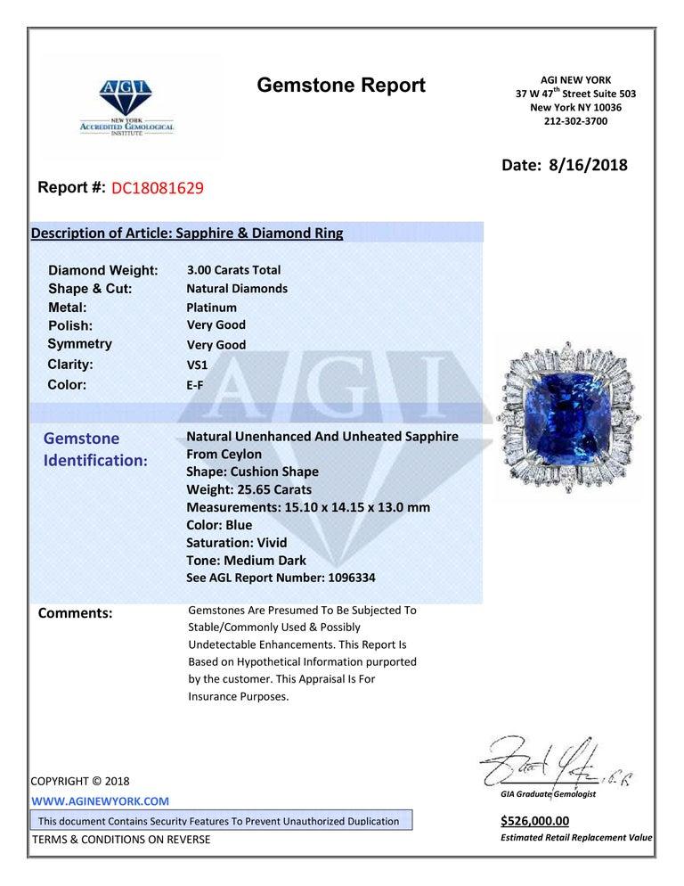 Emilio Jewelry 25.65 Carat Unheated AGL Certified Ceylon Sapphire Diamond Ring For Sale 6