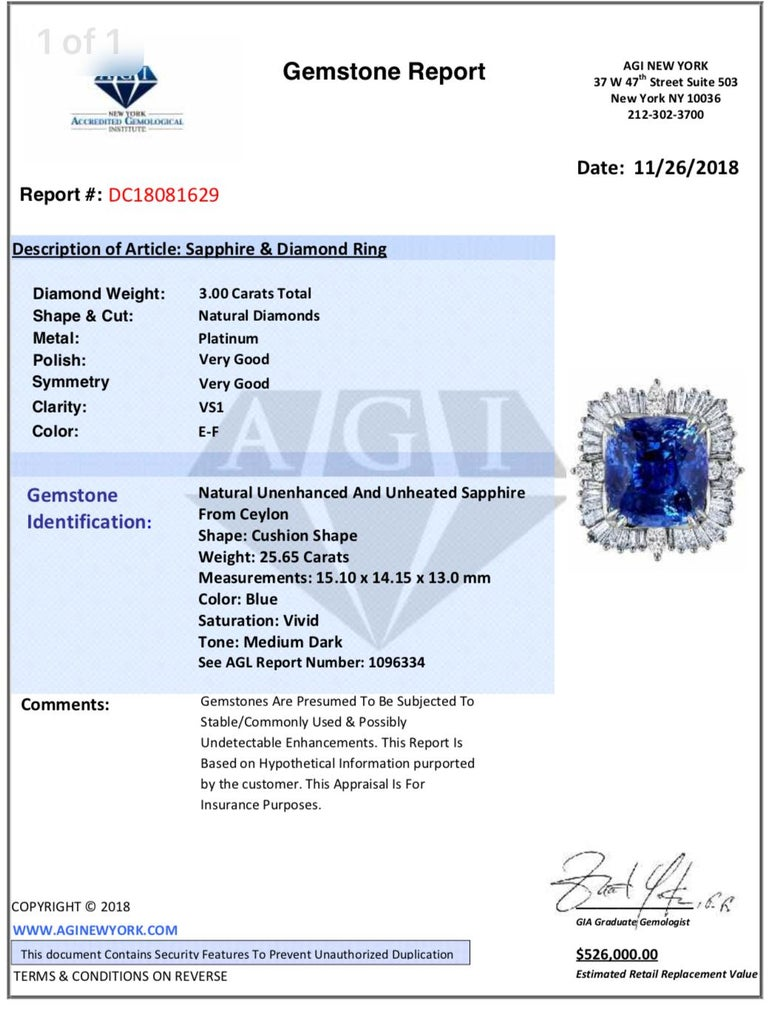Emilio Jewelry 25.65 Carat Unheated AGL Certified Ceylon Sapphire Diamond Ring For Sale 7