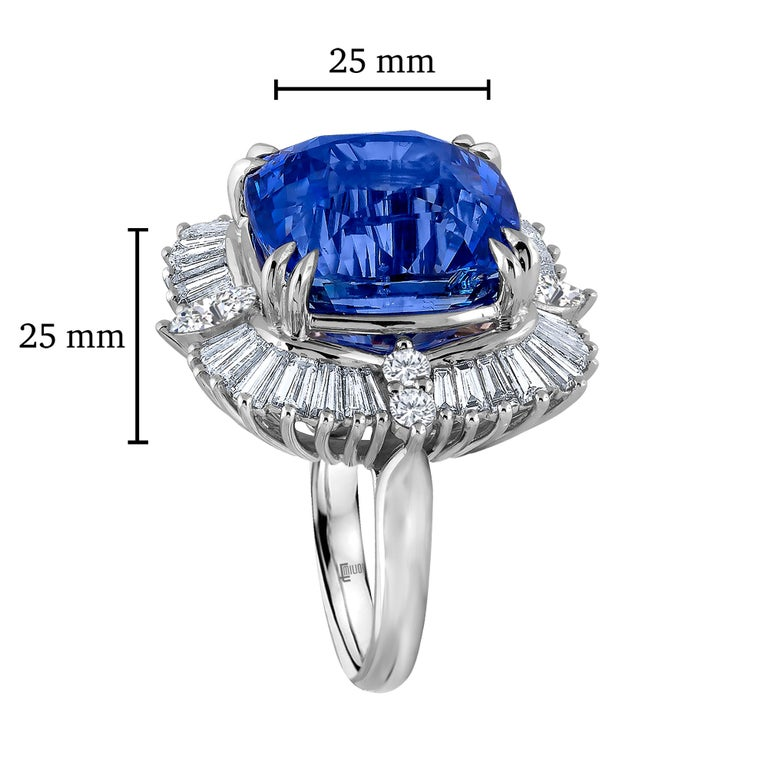 The only No Heat Unheated 25.65 carat Ceylon Sapphire that exists in the world is the most gorgeous ideal cornflower blue that will melt your heart. The cutting and faceting of this center gem is exceptional giving off a tremendous sparkling blue