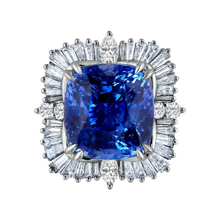 Emilio Jewelry 25.65 Carat Unheated AGL Certified Ceylon Sapphire Diamond Ring In Excellent Condition For Sale In New York, NY