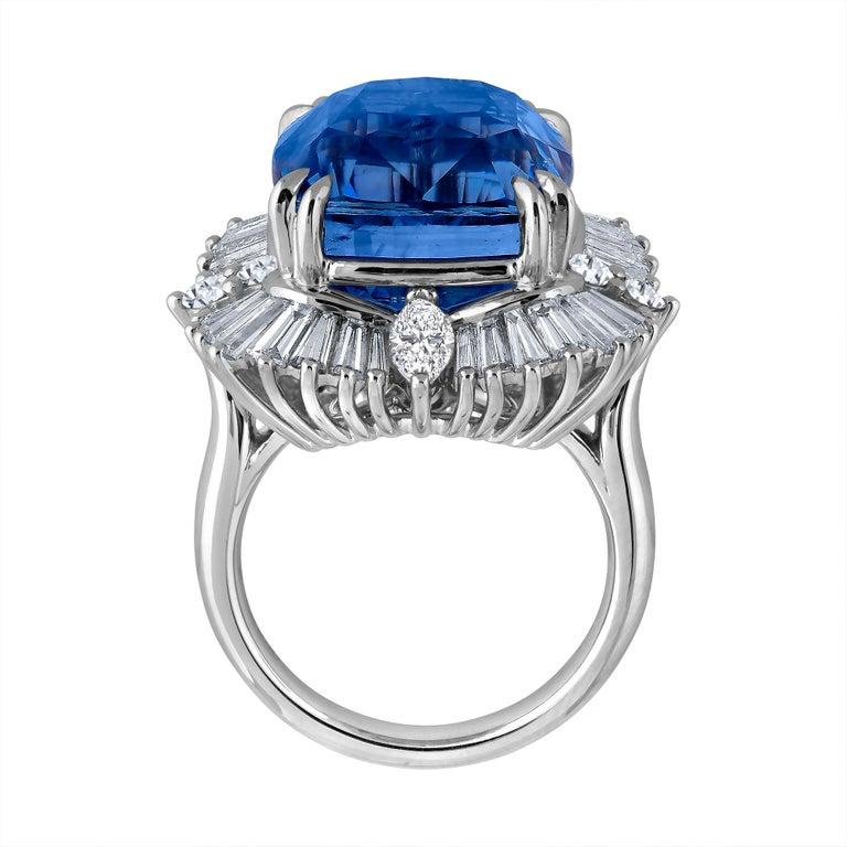 Emilio Jewelry 25.65 Carat Unheated AGL Certified Ceylon Sapphire Diamond Ring For Sale 1