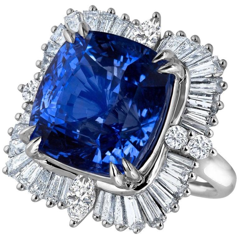 Emilio Jewelry 25.65 Carat Unheated AGL Certified Ceylon Sapphire Diamond Ring For Sale