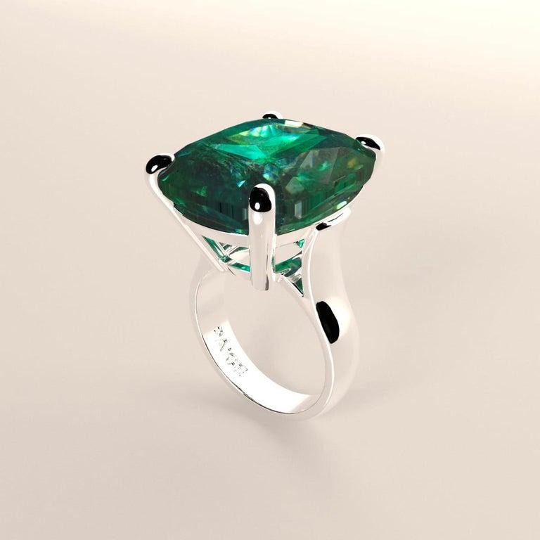 Emilio Jewelry 26.46 Carat Emerald Ring For Sale 7