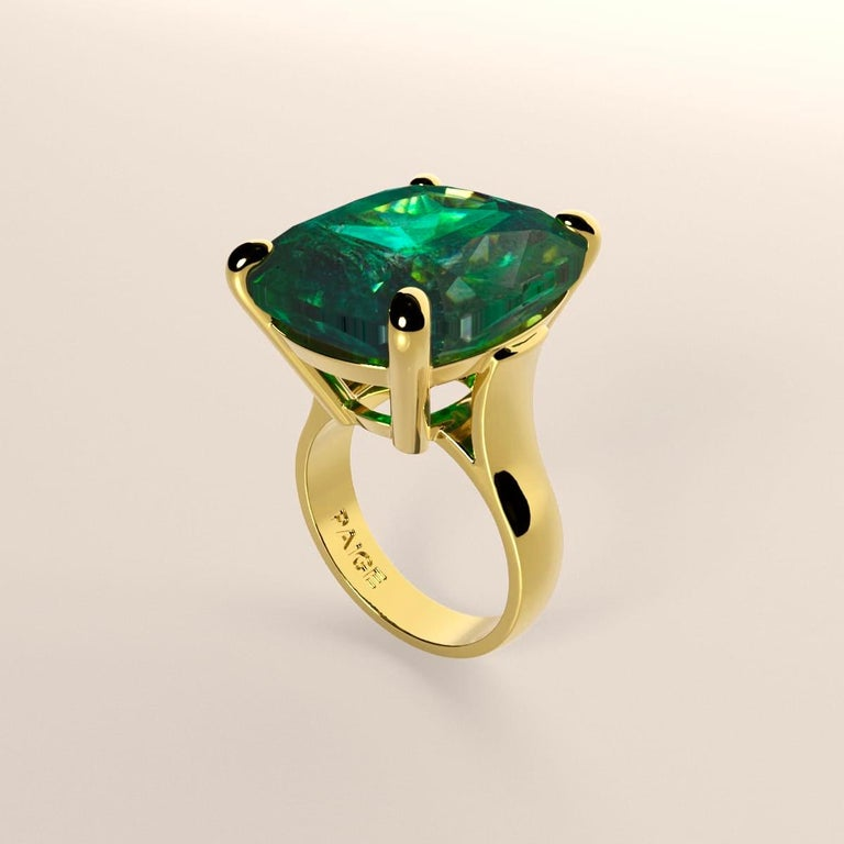 Emilio Jewelry 26.46 Carat Emerald Ring In New Condition For Sale In New York, NY