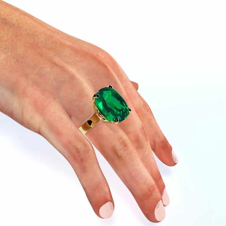 Women's or Men's Emilio Jewelry 26.46 Carat Emerald Ring For Sale