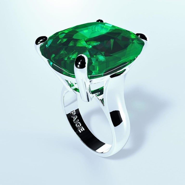 Emilio Jewelry 26.46 Carat Emerald Ring For Sale 4