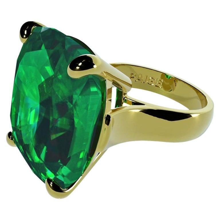 Emilio Jewelry 26.46 Carat Emerald Ring For Sale