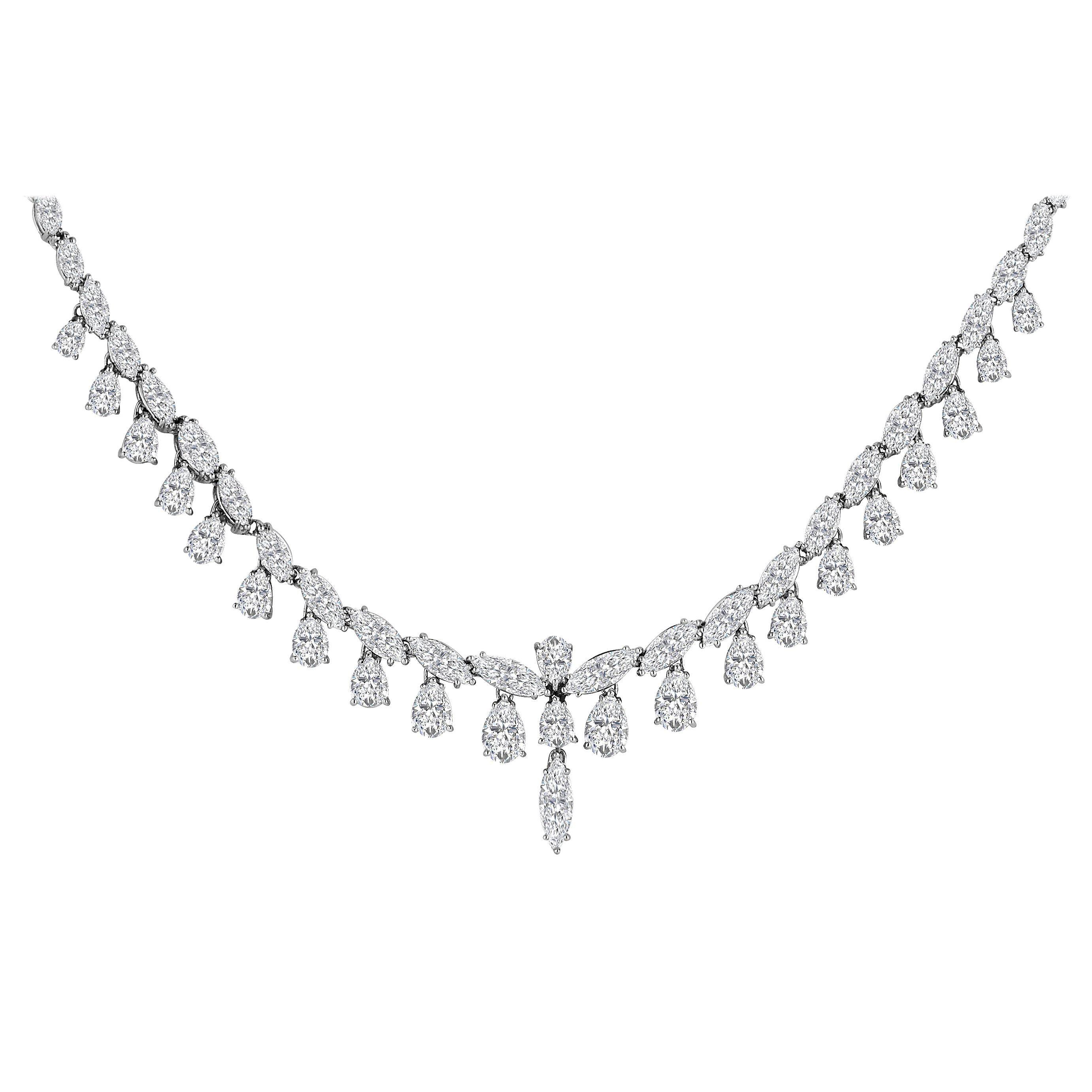 Emilio Jewelry 26.75 Carat Marquise Pear Shape Diamond Necklace