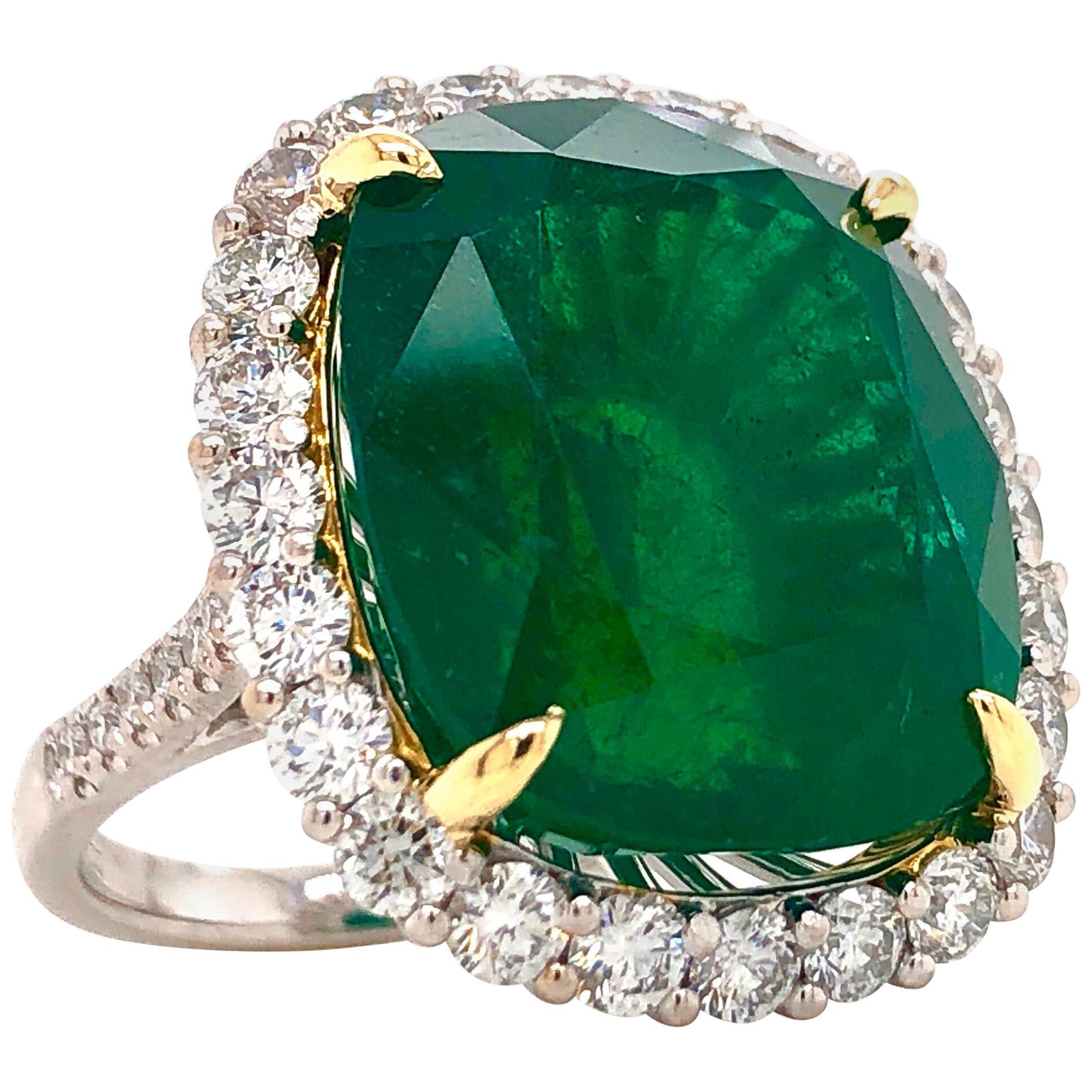 Emilio Jewelry 28.80 Carat Emerald Diamond Ring