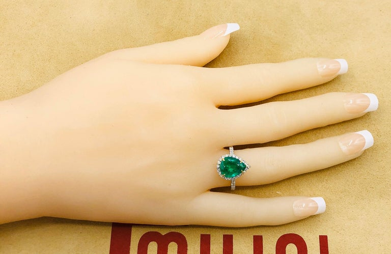 Emilio Jewelry 2.95 Carat Certified Vivid Green Emerald Diamond Ring 6