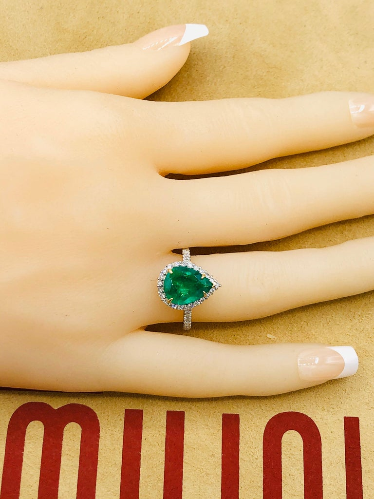 Emilio Jewelry 2.95 Carat Certified Vivid Green Emerald Diamond Ring 7
