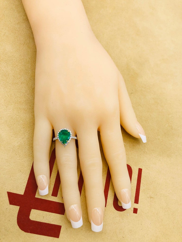 Emilio Jewelry 2.95 Carat Certified Vivid Green Emerald Diamond Ring 8