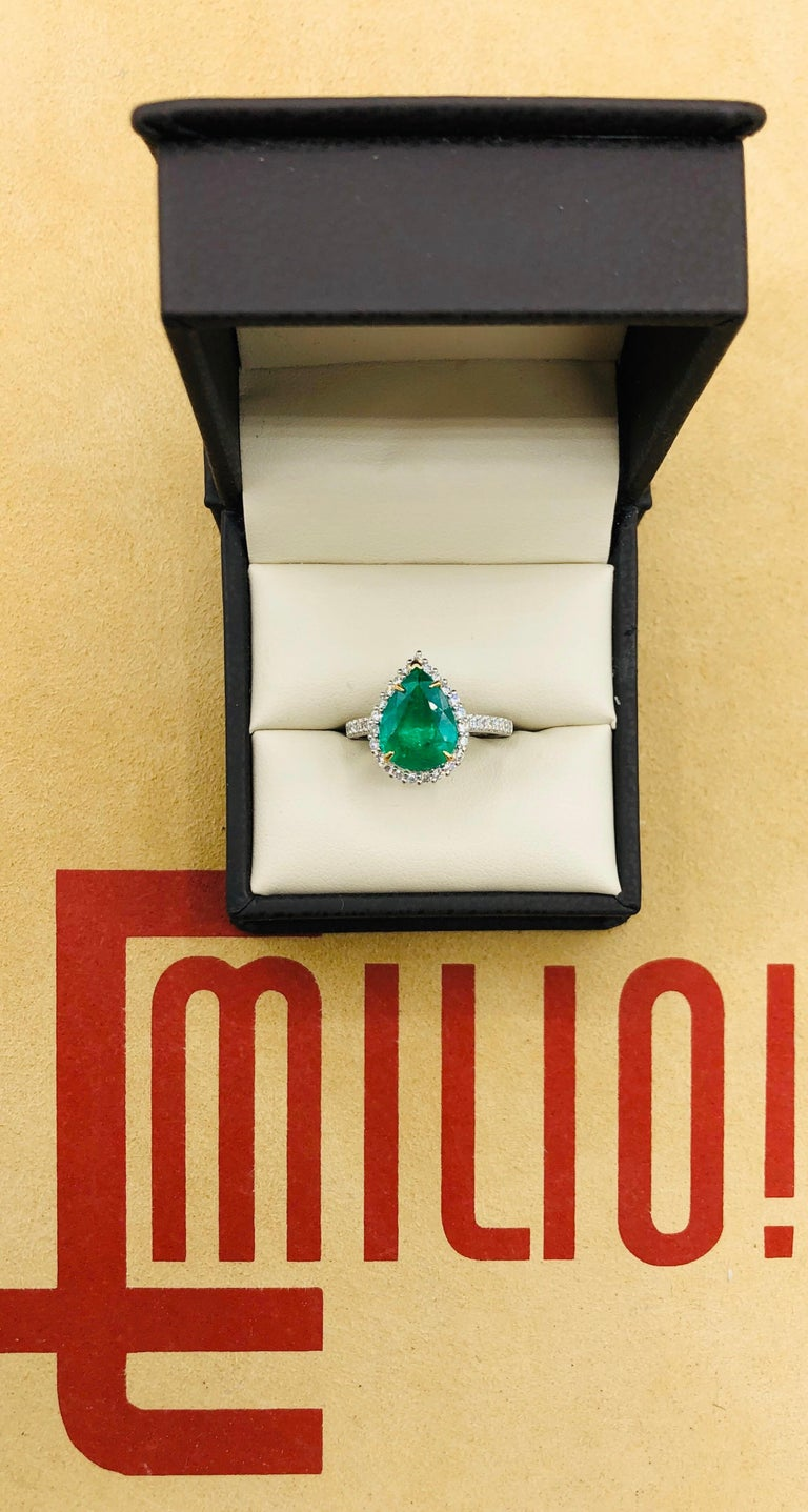 Showcasing pear shape 2.48ct Genuine Emerald certified by C.Dunaigre as vivid green color and Zambian origin. Based on emerald grading methodology the clarity of the emerald is Internally flawless-vvs1 with no imperfections visible to the naked eye.