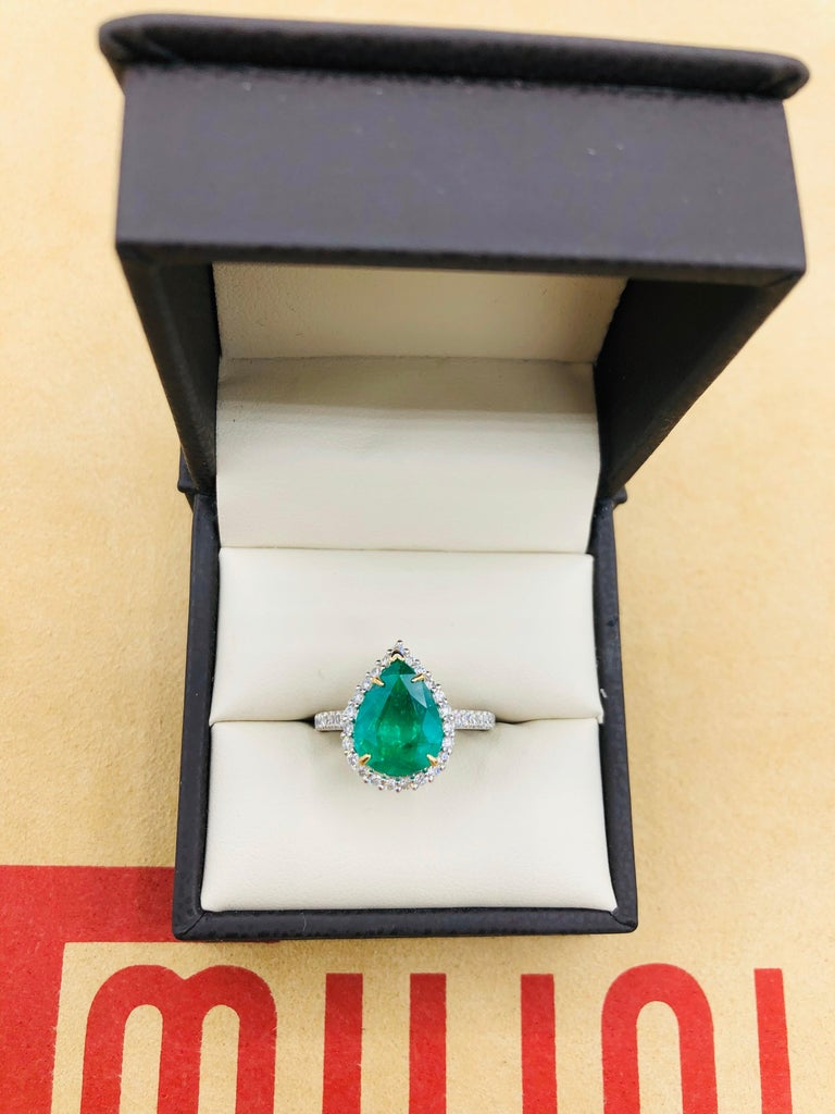 Emilio Jewelry 2.95 Carat Certified Vivid Green Emerald Diamond Ring 1
