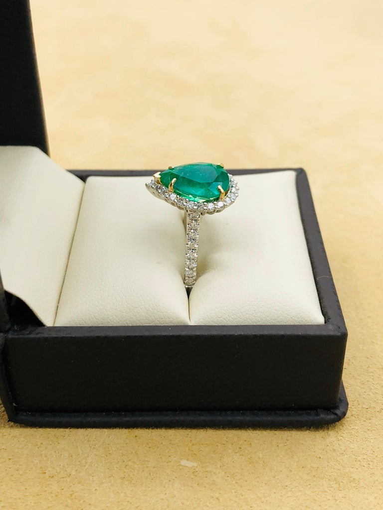 Emilio Jewelry 2.95 Carat Certified Vivid Green Emerald Diamond Ring 3