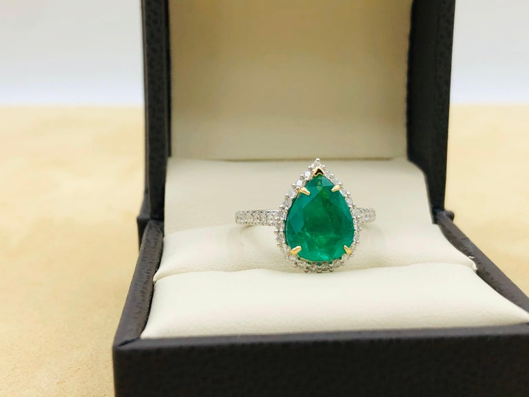 Emilio Jewelry 2.95 Carat Certified Vivid Green Emerald Diamond Ring 4