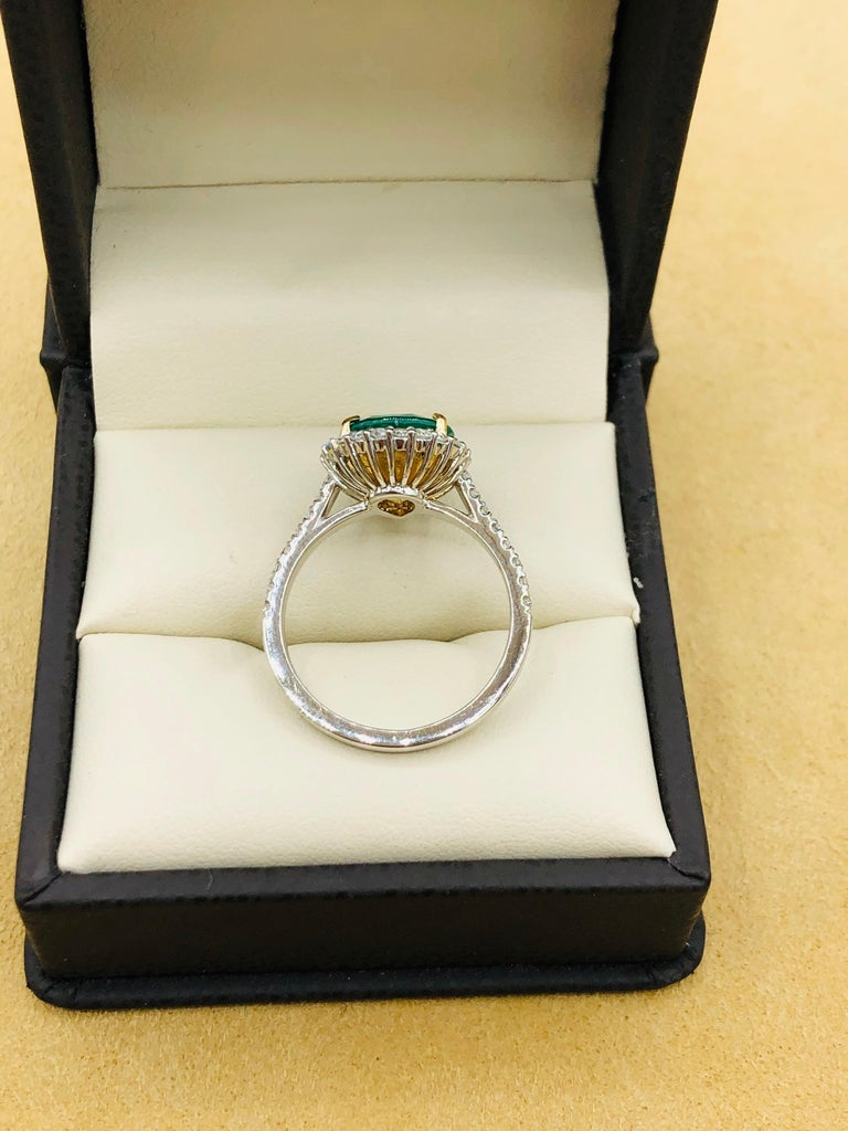 Emilio Jewelry 2.95 Carat Certified Vivid Green Emerald Diamond Ring 5