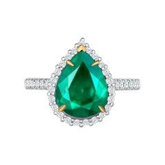Emilio Jewelry 2.95 Carat Certified Vivid Green Emerald Diamond Ring