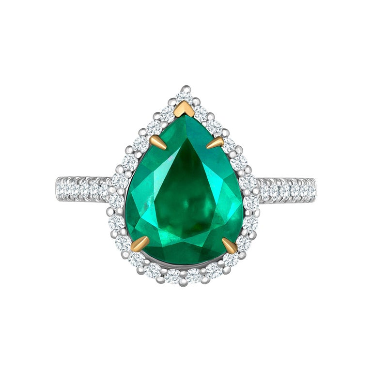 Emilio Jewelry 2.95 Carat Certified Vivid Green Emerald Diamond Ring
