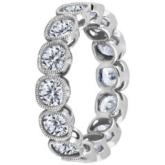 Emilio Jewelry .30 Carat Each Cushion Diamond Platinum Eternity Ring