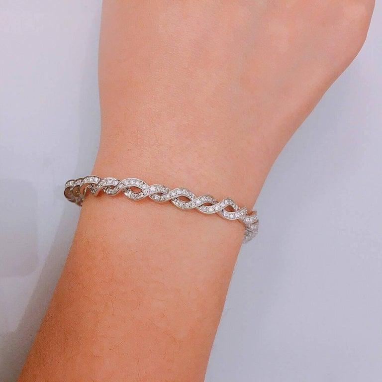 Modern Emilio Jewelry 3.00 Carat Micro Pave Diamond Gold Bracelet For Sale