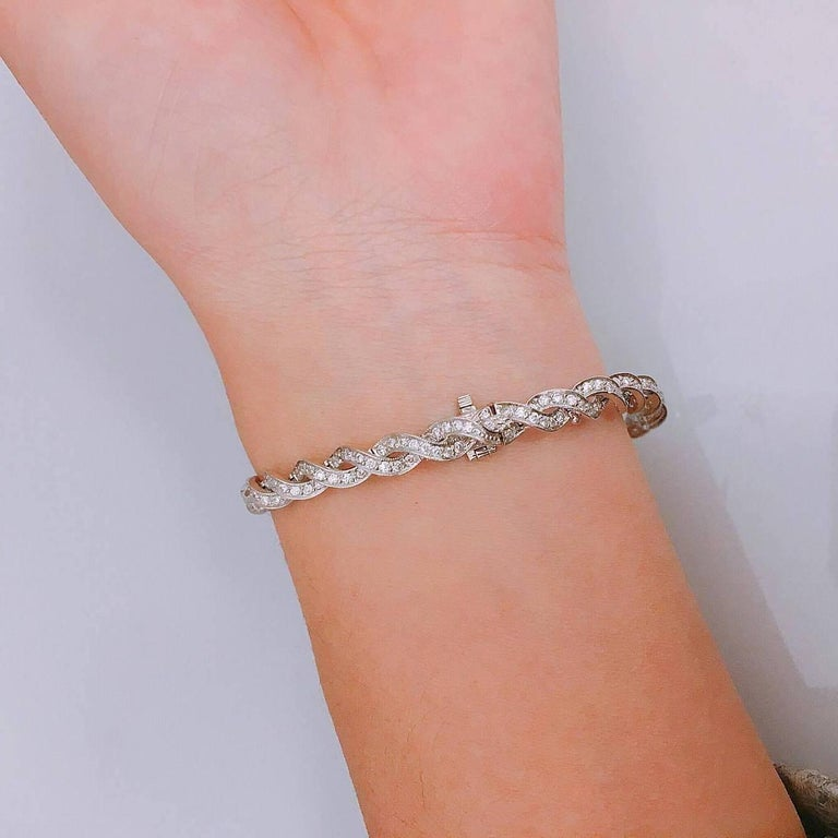 Emilio Jewelry 3.00 Carat Micro Pave Diamond Gold Bracelet In New Condition For Sale In New York, NY
