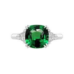Emilio Jewelry 3.00 Carat Untreated Tsavorite Diamond Ring