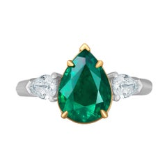 Emilio Jewelry 3.20 Carat Pear Shape Emerald Diamond Ring
